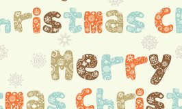 Merry Christmas seamless pattern, ornate letters background and
