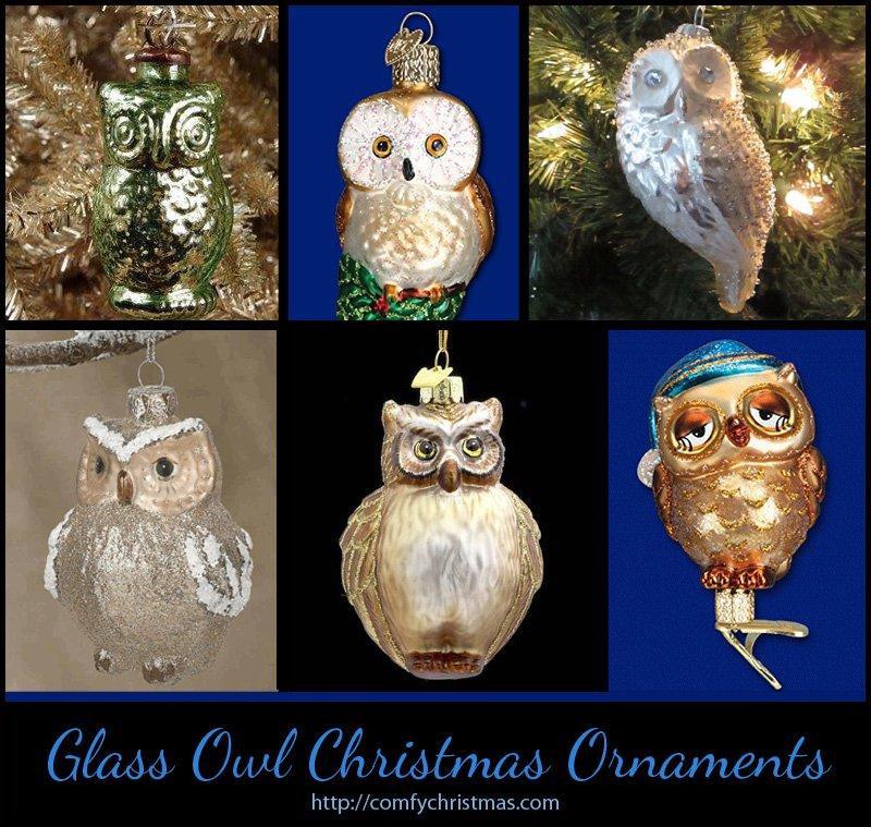 Glass Owl Christmas Ornaments