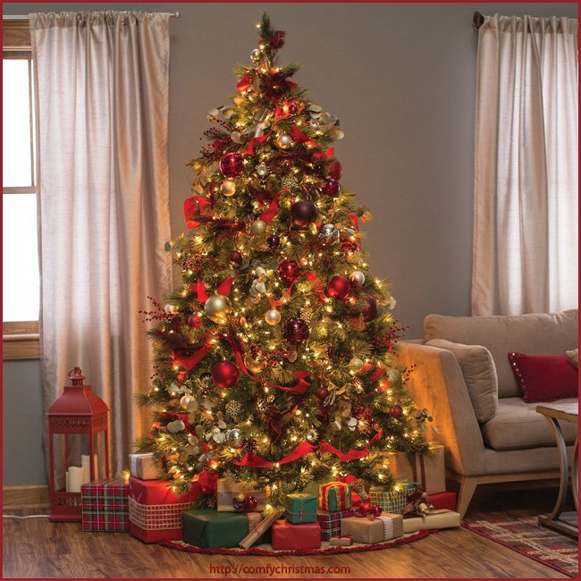 9 foot prelit christmas tree decorated - Pre Lit And Decorated Christmas Trees