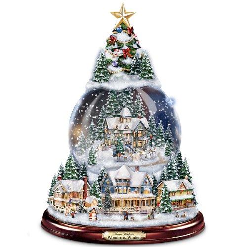 thomas kinkade wondrous winter musical tabletop christmas tree with snowglobe