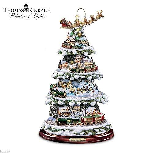 thomas kinkade animated wonderland express tabletop christmas tree with train - Tabletop Christmas Trees With Lights