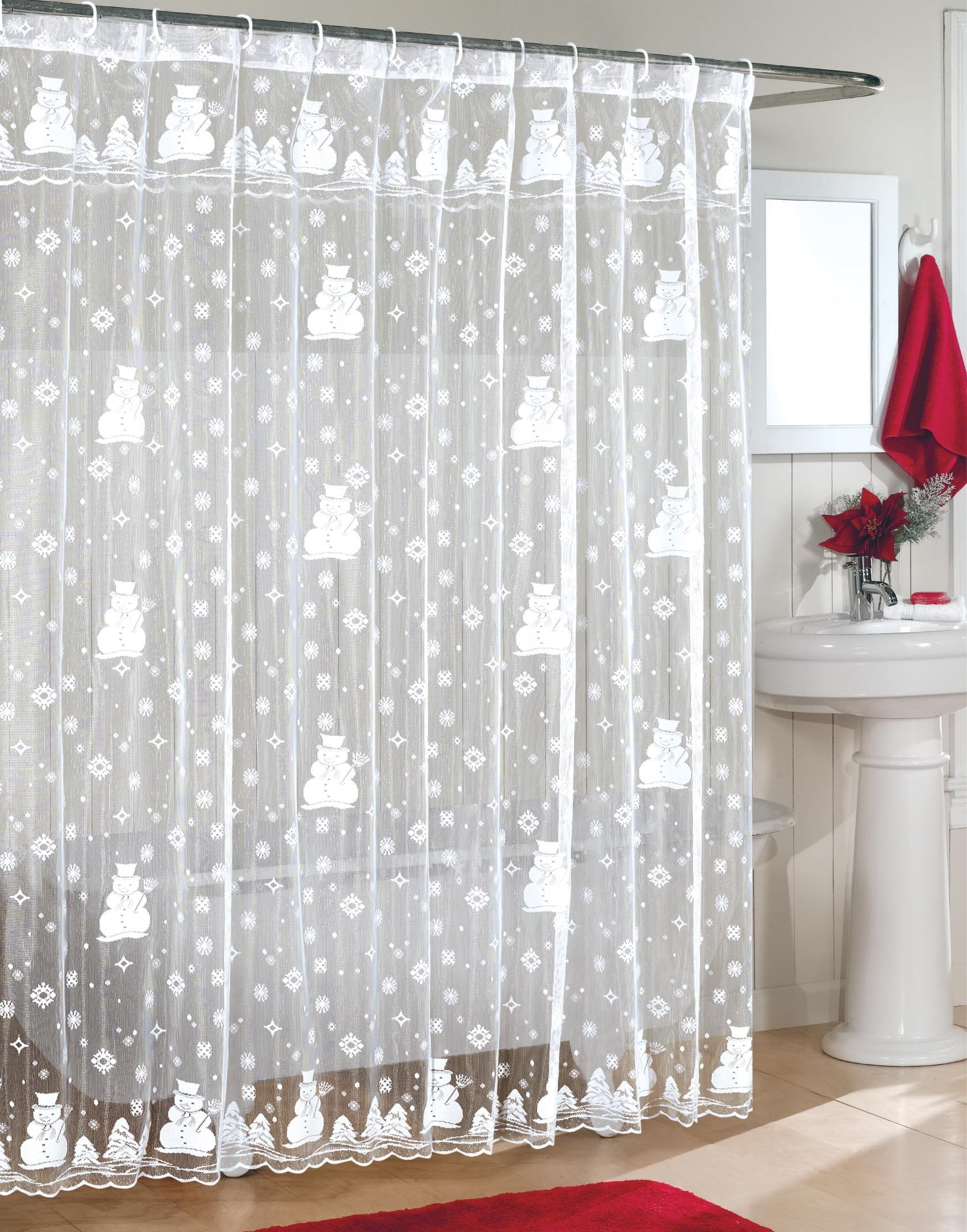 Lace Snowman Shower Curtain For That Elegant Look