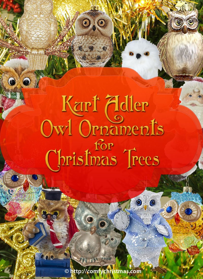 Kurt Adler Owl Ornaments for Christmas Tree