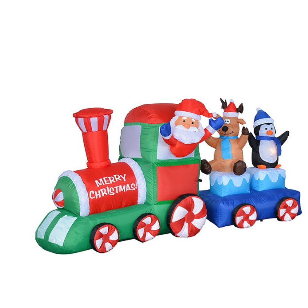 Christmas inflatable train perfect for your christmas for Outdoor christmas train decoration