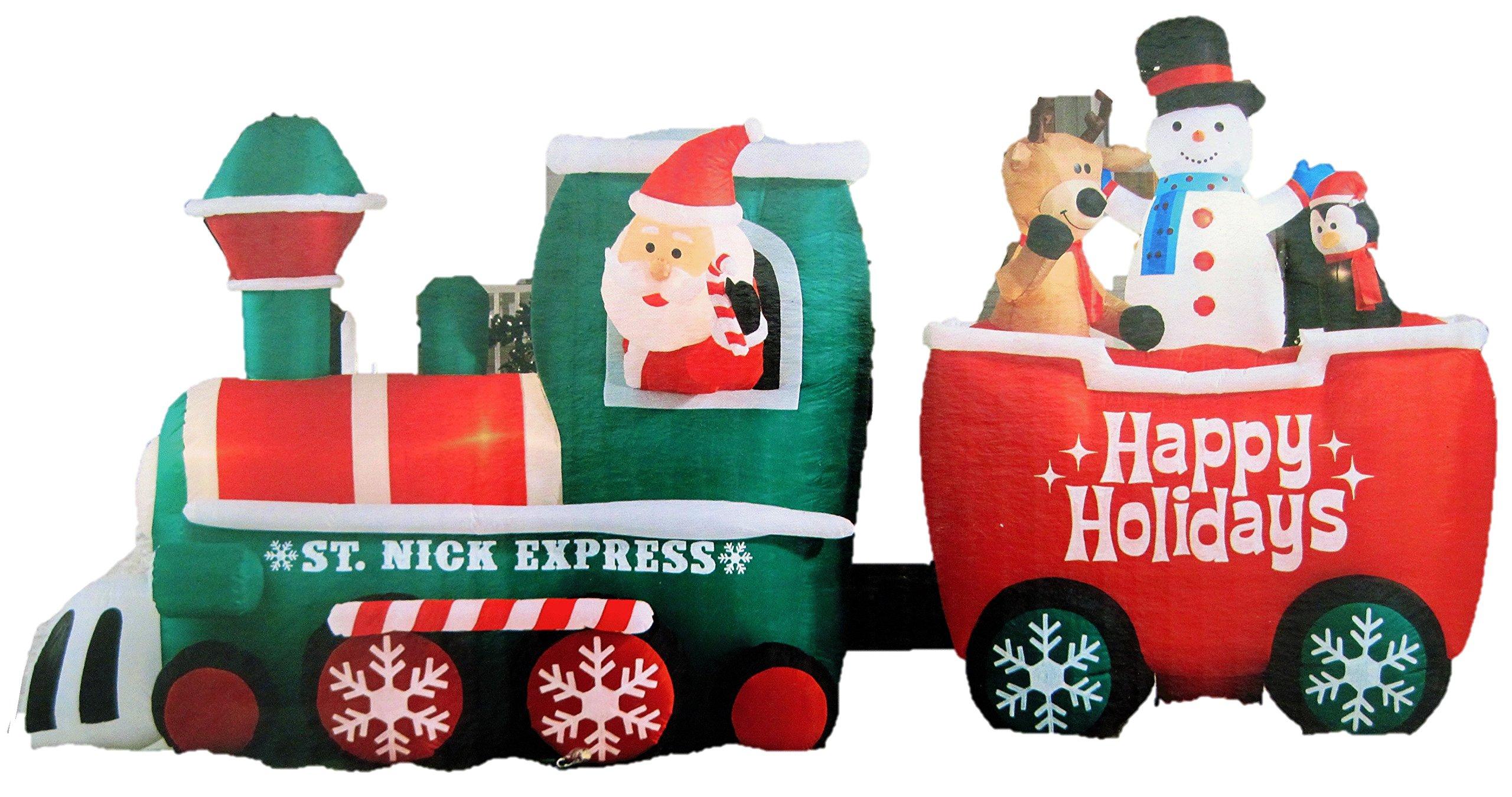 saint nick express christmas inflatable train measures 155 ft long