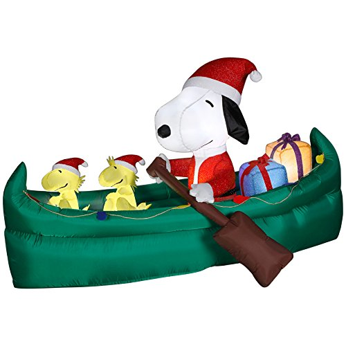 this is one of the cutest snoopy inflatable christmas yard decorations made by gemmy airblown and is compact and lightweight and measures 6 ft long and