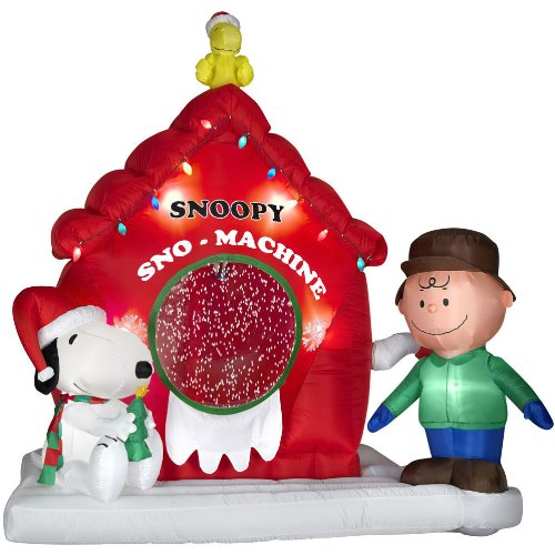 this snoopy peanuts 7 ft airblown self inflatable lights up and inflates in seconds - Snoopy Blow Up Christmas Decorations