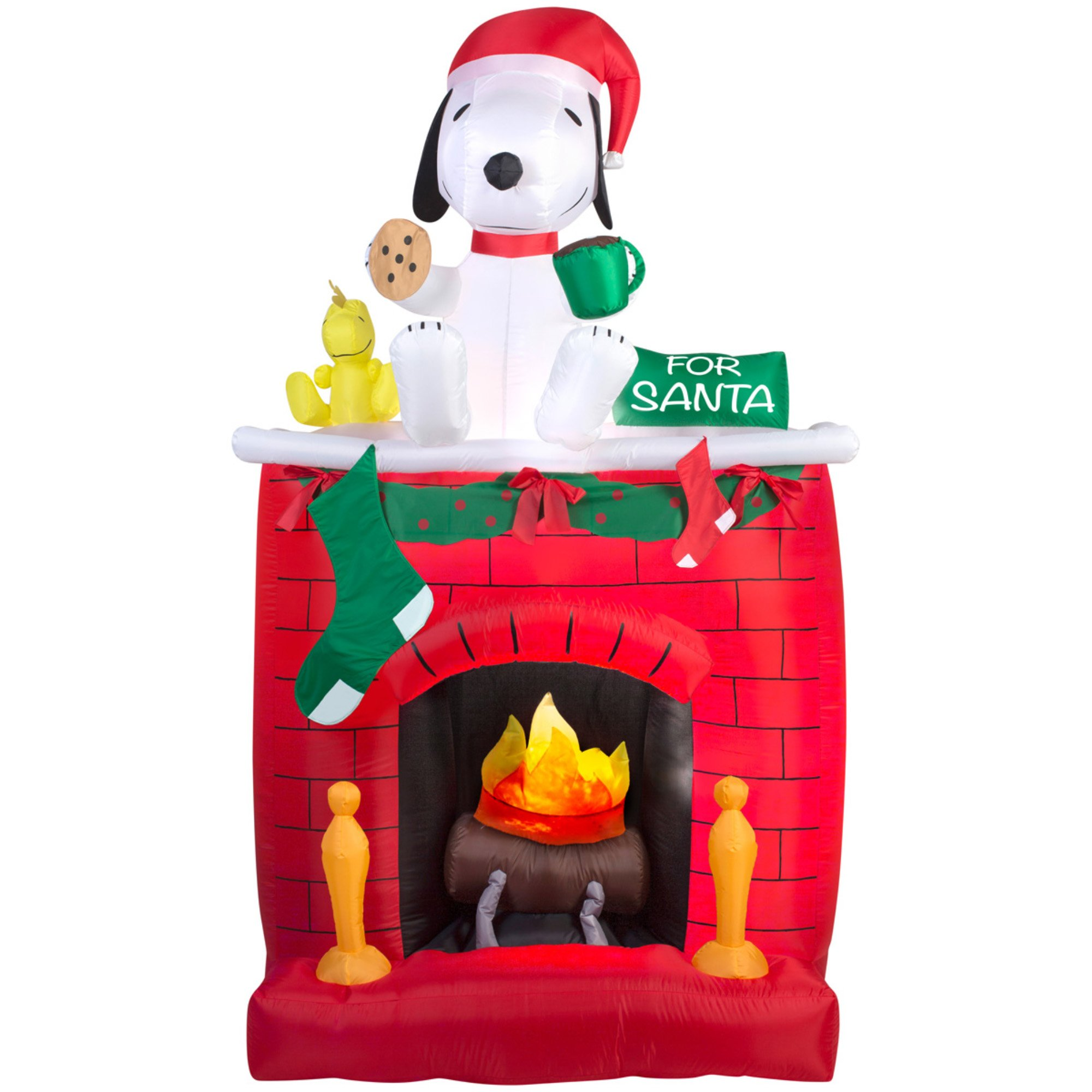 this super cute snoopy christmas yard decoration reveals a memorable holiday scene where snoopy and woodstock patiently await santas arrival