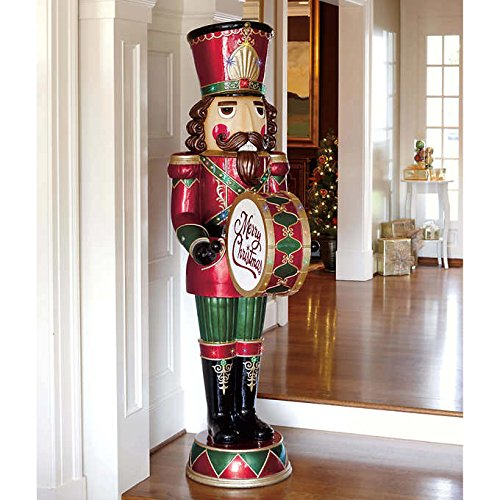 giant life size pair of 6 resin nutcracker christmas holiday toy soldiers standing tall at 6 feet and weighing approximately 80 lbs - Large Toy Soldier Christmas Decoration