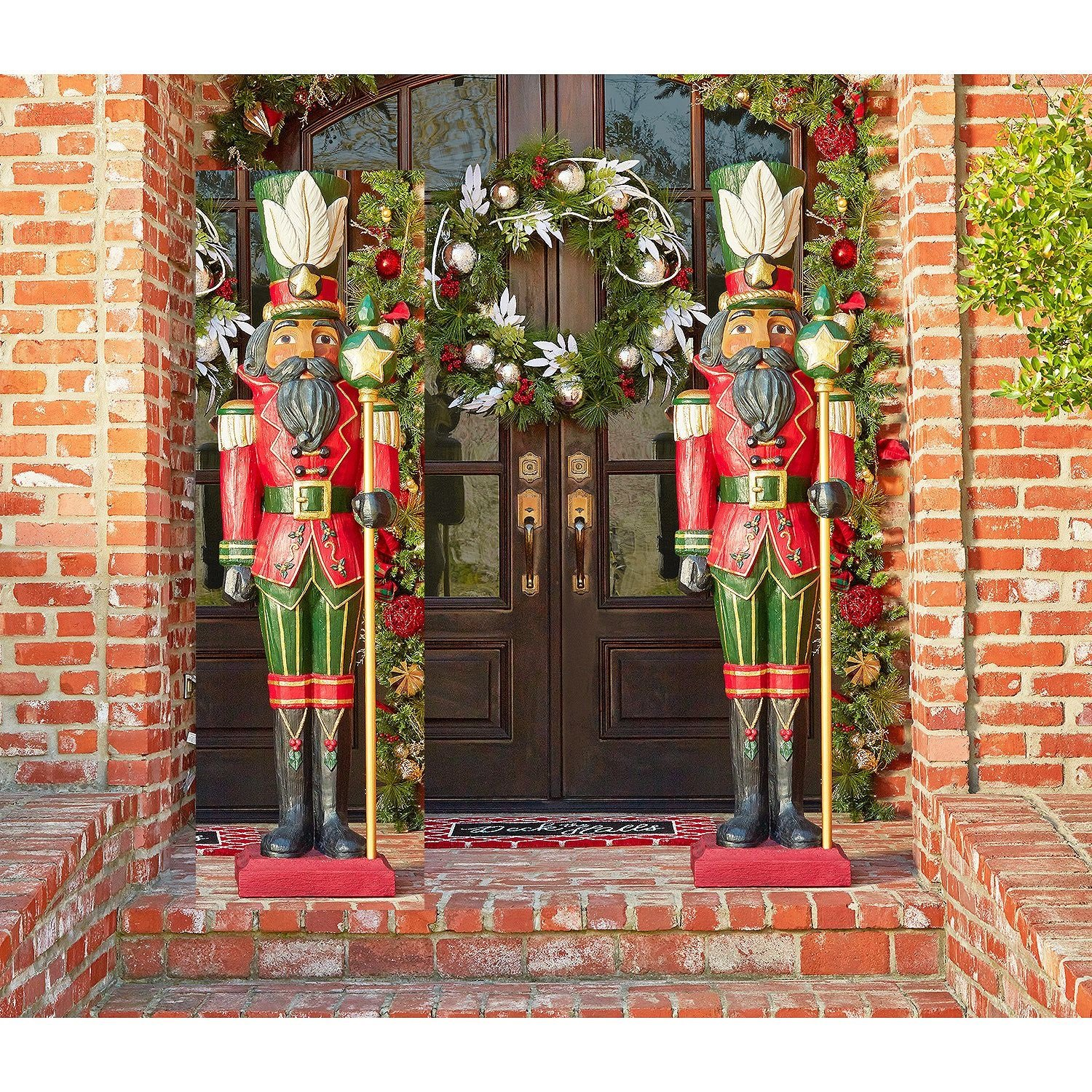 find the perfect large outdoor nutcracker decoration this pair of life size christmas nutcracker toy soldiers - Large Life Size Toy Soldier Christmas Outdoor Decorations
