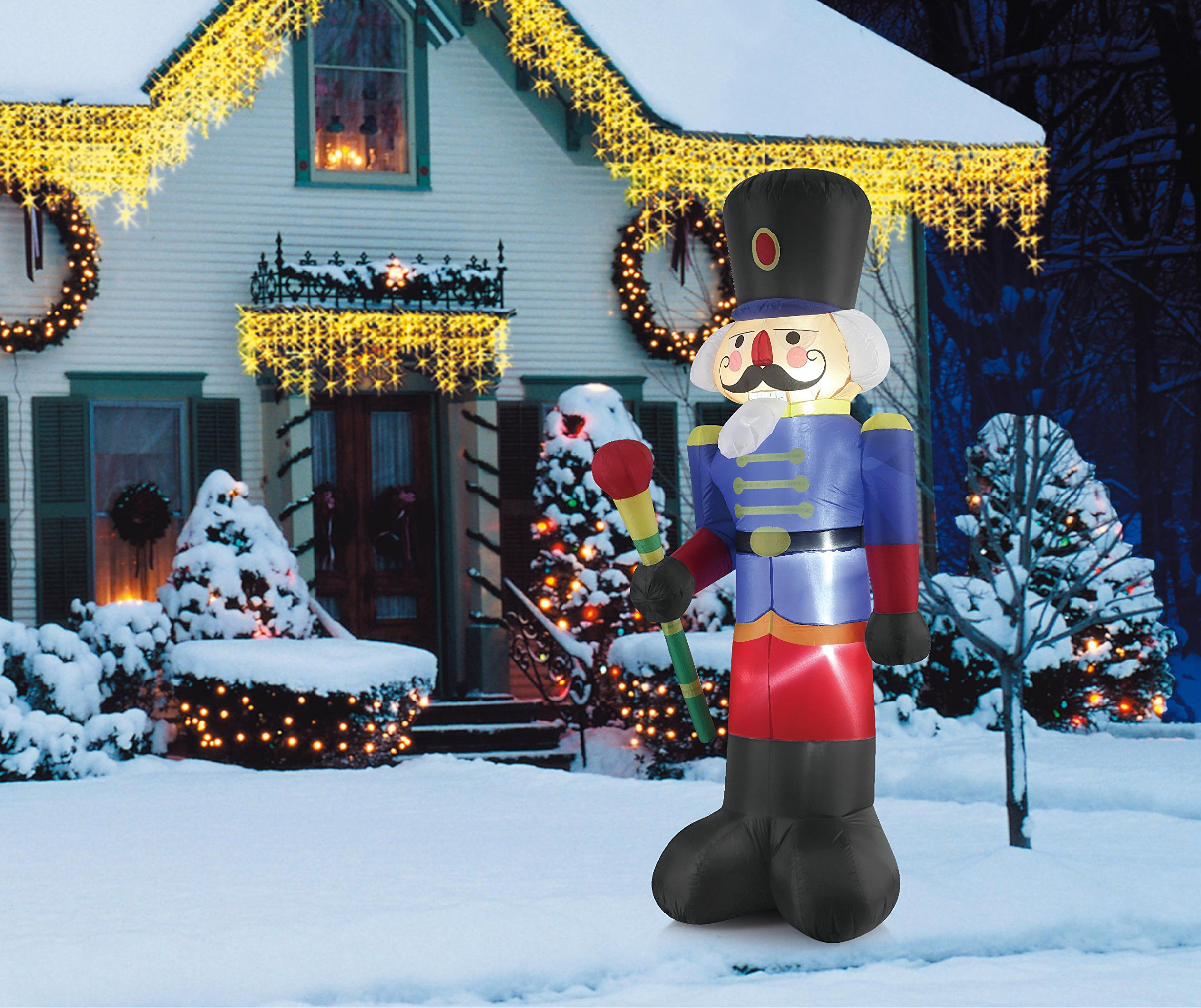 all you need to do is attach your blower fan to your christmas nutcracker inflatable and plug it in and your inflatable nutcracker will be ready to spread - Outdoor Christmas Inflatables