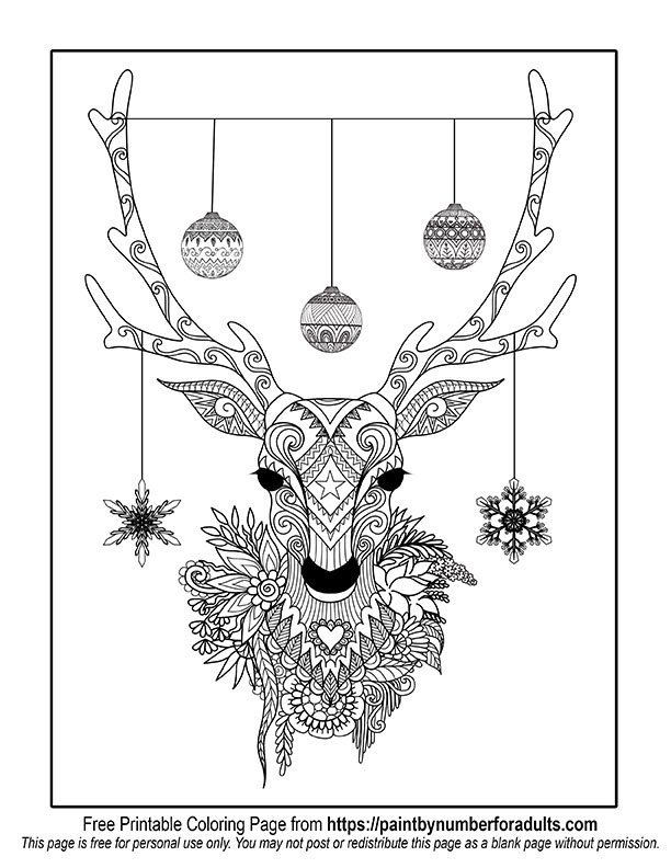 christmas deer coloring page