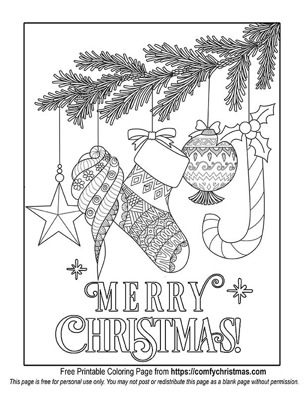 Free Printable Christmas Coloring Pages • Comfy Christmas