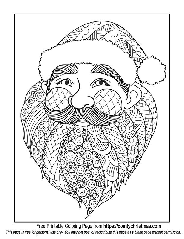 santa christmas coloring page - Santa Coloring Pages Printable Free