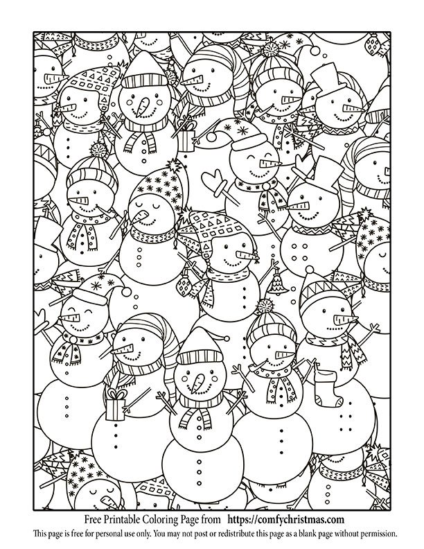Free printable christmas coloring pages comfy christmas for Adult christmas coloring pages