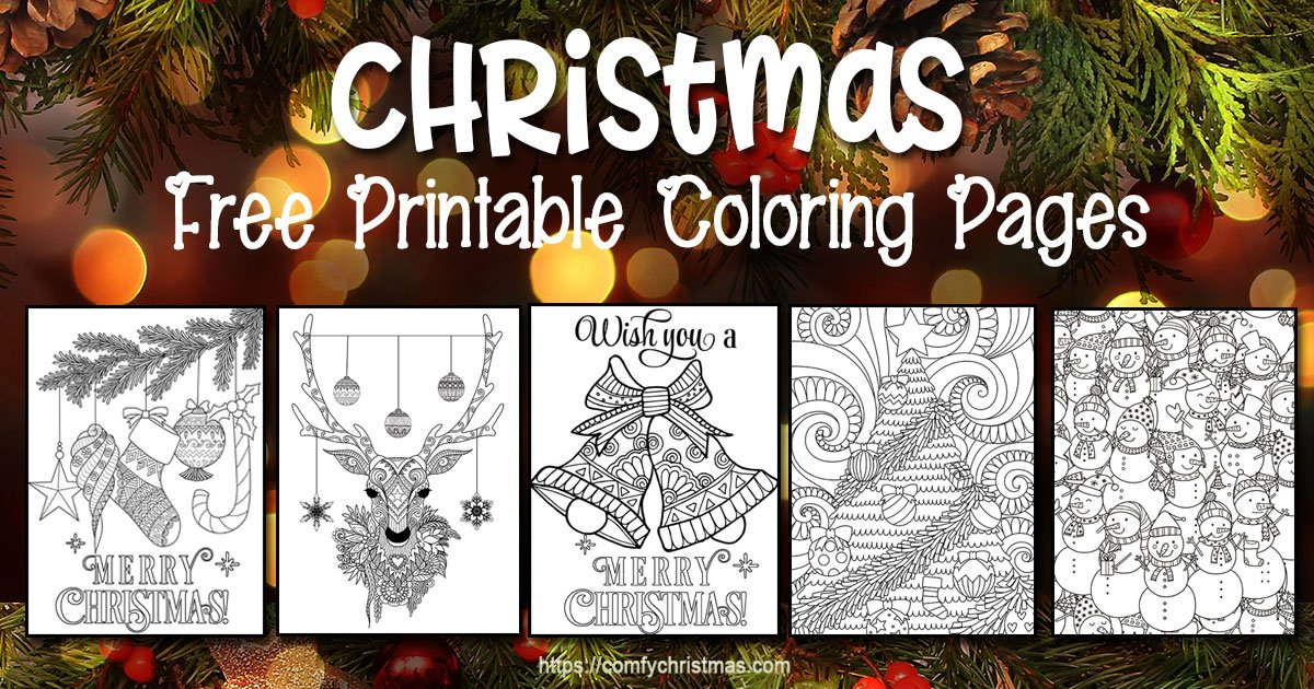 FREE Christmas Coloring Pages for Adults and Kids - Happiness is ... | 630x1200