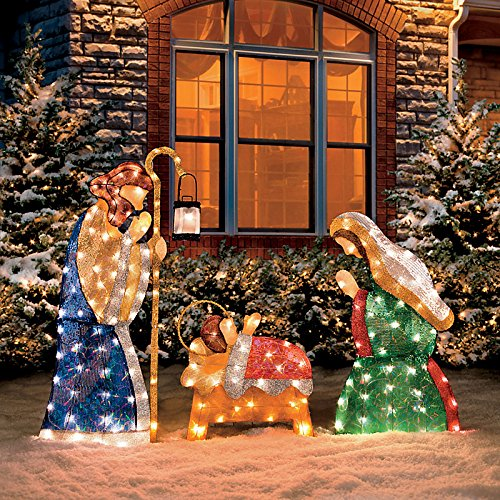 48 inches tall fontanini holy family lighted nativity christmas yard art that includes mary joseph and baby jesus this outdoor nativity scene comes with