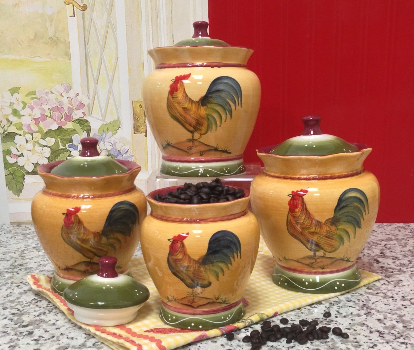 country canister sets for kitchen country kitchen canister sets gift for country 8420