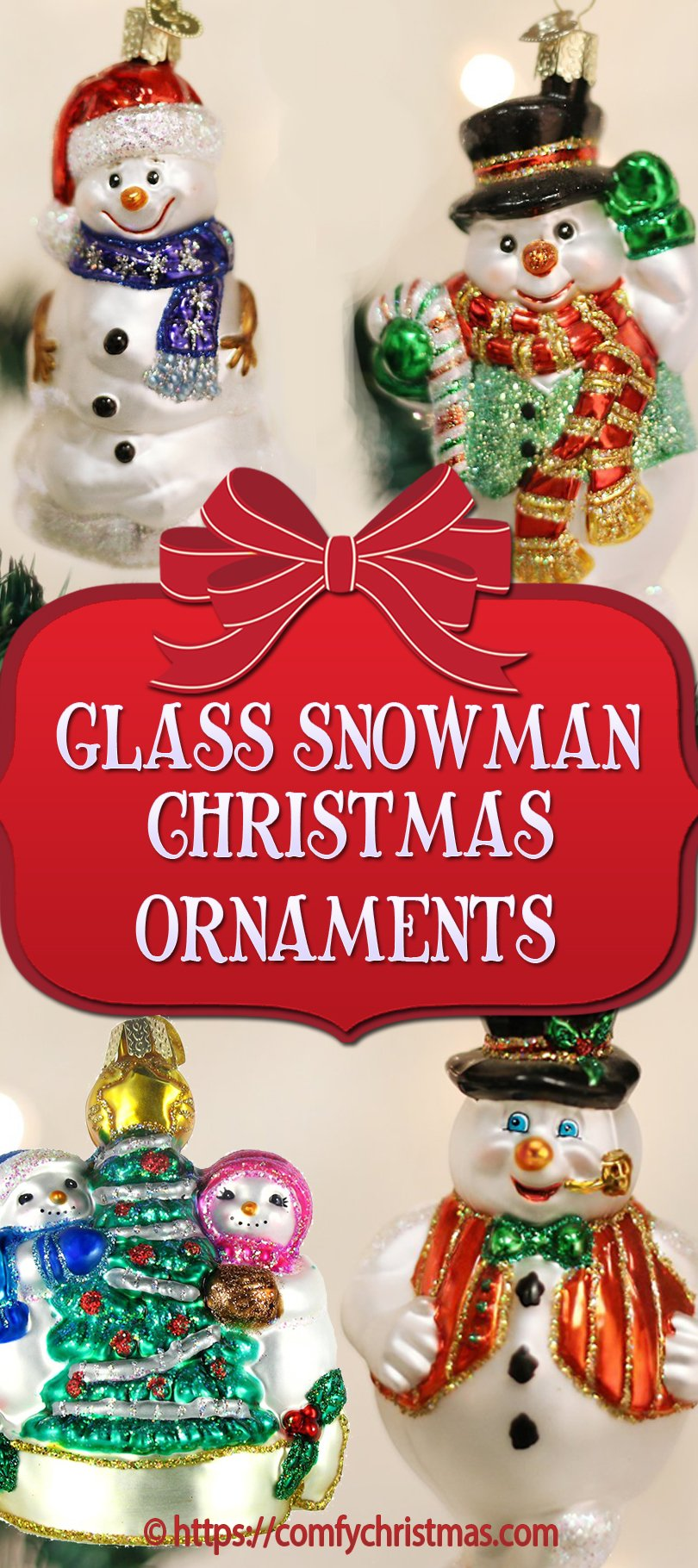Glass Snowman Christmas Ornaments