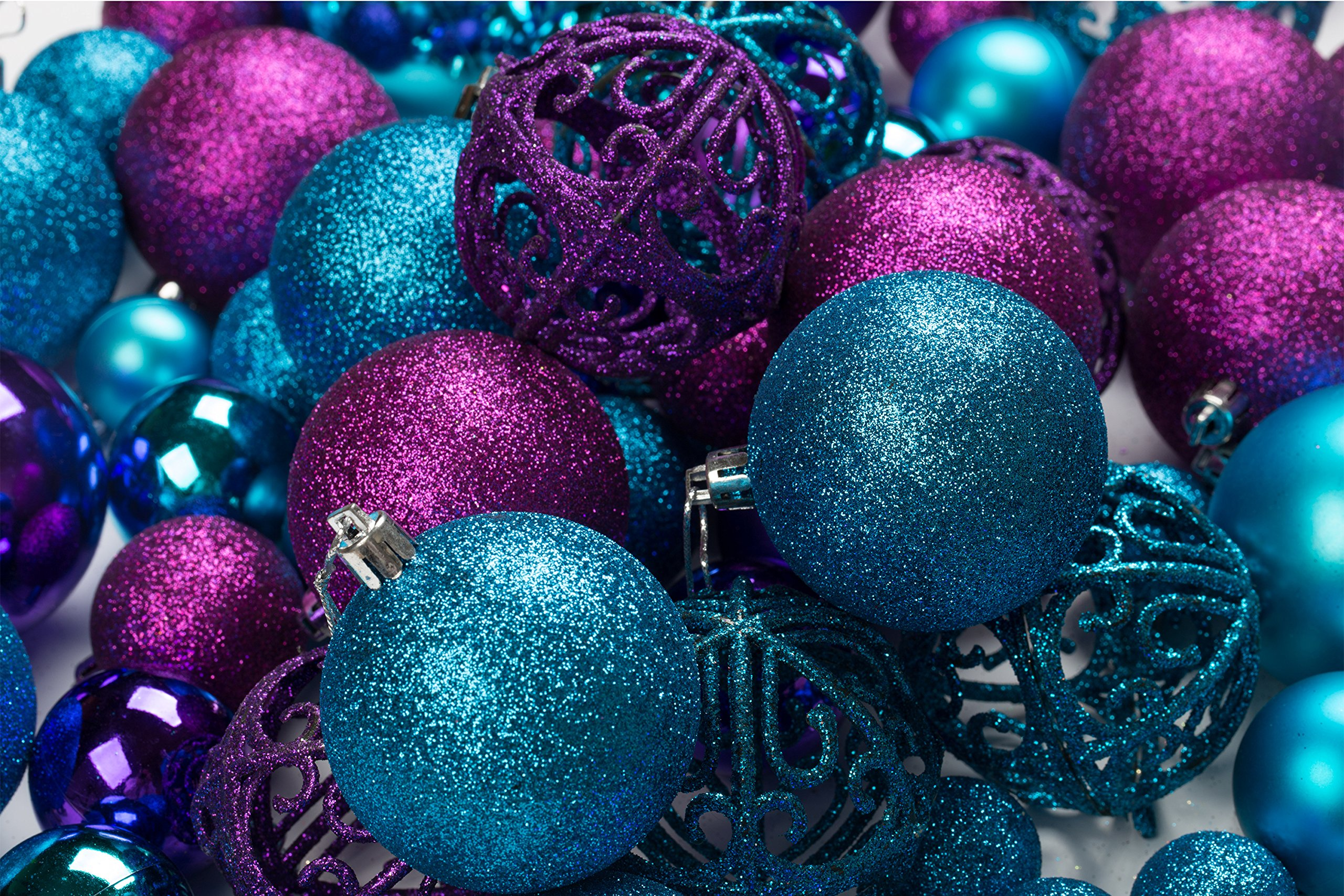 to start off your peacock themed christmas we have this set of 100 beautiful purple and blue christmas ornament balls that are shatterproof and come with - Peacock Blue Christmas Decorations