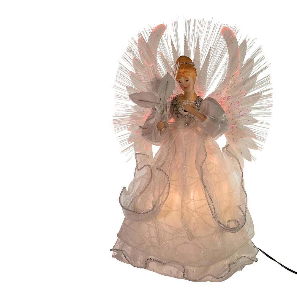 youll love this 14 inch kurt adler multi fiberoptic lighted angel christmas tree topper that is sure to add to the lighting and decor of your christmas