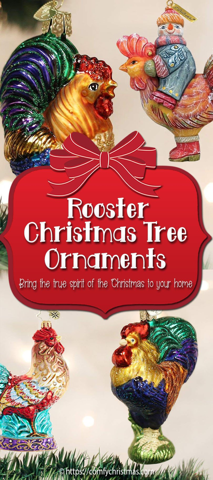 Rooster Christmas Tree Ornaments